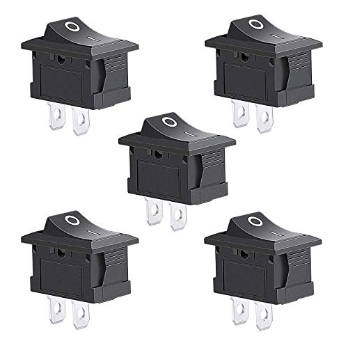 Aokin 5Pcs 2 Pin Snap-in On/Off Position Snap Boat Rocker Switch 12V/110V/250V OT8G
