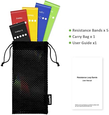 Letsfit Resistance Loop Exercise Bands with Instruction Guide and Carry Bag, Set of five