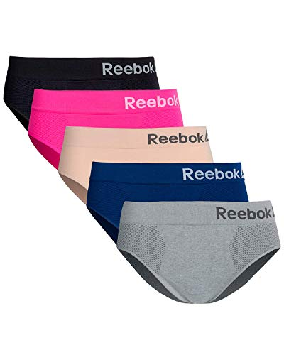 Reebok Womens Seamless Hipster Panties 5-Pack (Medium, Light Grey/Rose/Hot Pink/Black/Blue)'