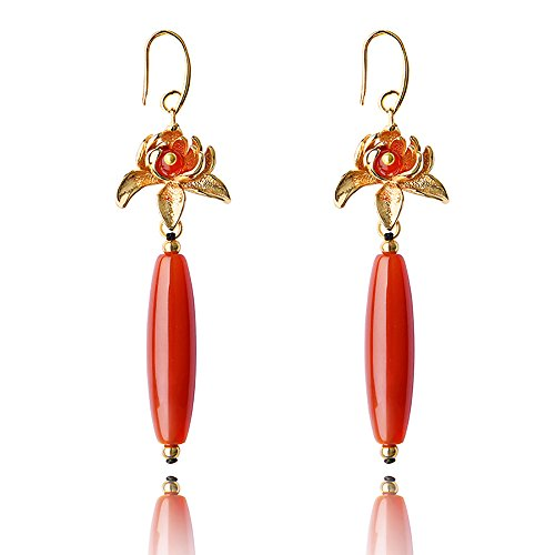 VEINTI+1 Original Design Classical Chinese Elements Wedding Festive Golden Flower with Red Agate Women/Girl's Earrings/Ear Clips (Ear Hook) by VEINTI+1