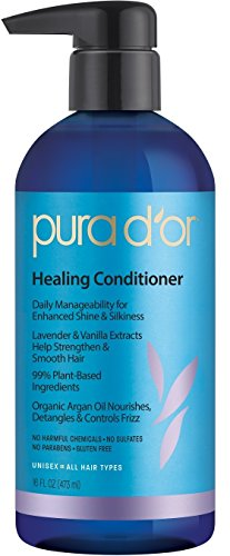 PURA D'OR Healing Conditioner Lavender Vanilla Shine Enhancing Organic Argan Oil, 16 Fl Oz