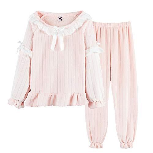 Tuta Pink All'esterno Al Mmllse Invernale Pigiama Da Flanella Spesso Caldo Velluto Per Tenere In Di Indossare Dolce Donna Corallo wCqPU4x