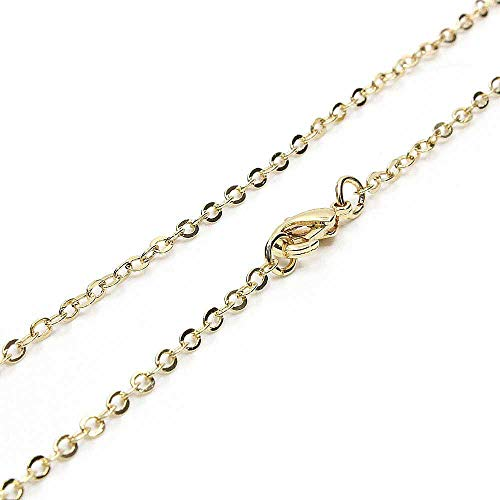 Wholesale 12 PCS Gold Plated over Solid Brass Chain necklace Bulk Finished Chains for Jewelry Making 18-30 Inches (18 Inch(2MM))