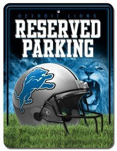 NFL Detroit Lions 8-Inch by 11-Inch Metal Parking Sign Décor