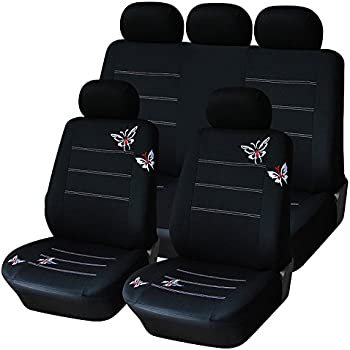 AUTOYOUTH Full Set Car Seat Covers Butterfly Embroidery Split Rear Bench Polyester Cloth Universal