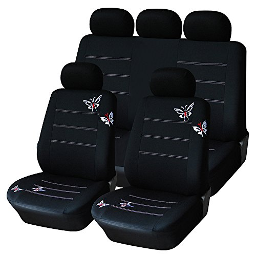 AUTOYOUTH Full Set Car Seat Covers Butterfly Embroidery, Split Rear Bench, Polyester Cloth Universal Fit Car Accessories - 9PCS, Black AODELAI CO., LIMITED Seat Covers