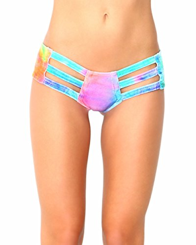 [iHeartRaves Tie Dye Velvet Micro Cut Out Rave Booty Shorts (Medium/Large)] (90s Theme Party Outfits)
