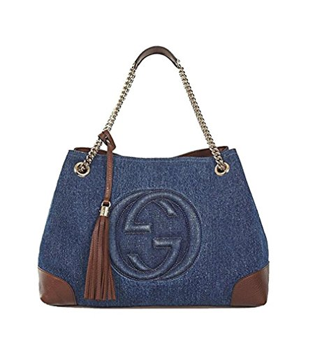 Gucci. Blue Canvas Handbag
