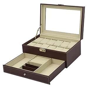 Cuero de PU Caja para 12 Relojes con un cajón para Pulseras, Anillos y Gemelos marrón: Amazon.es: Relojes