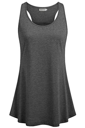 Ouncuty Flowy Tanks Plus Size, Loose Summer Tank Womens Scoop Neck Tanks Tops Solid Flowy Yoga Grey Blouses Juniors Sleeveless Racer Back Fitness Tops Exercise Shirts Medium
