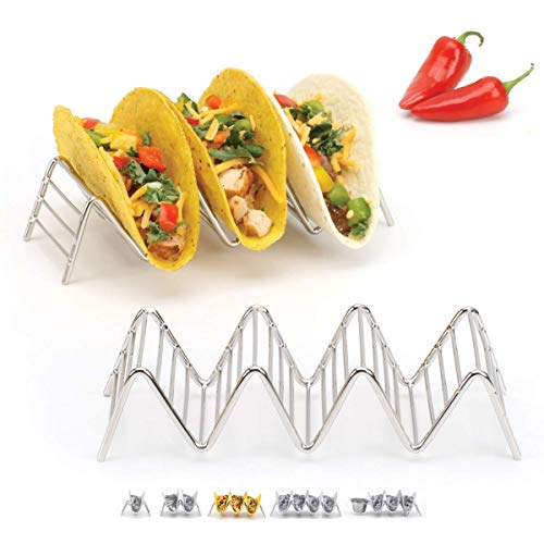 2lbDepot Taco Holder Stand - Chrome Finish - Premium 18/8 Stainless Steel - Holds 3 or 4 Hard Soft Tacos - Five Styles Available - Set of 2 Racks