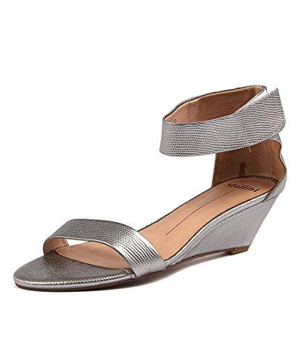 MOLLINI LEATHER Marsy PEWTER Ankle LIZARD Womens Lea Red Shoes Strap Heels rrqdva