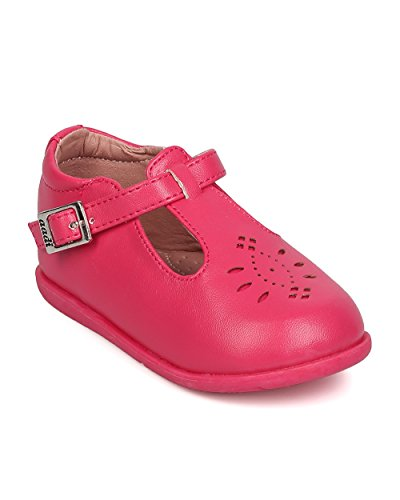 Pictures of Aadi Leatherette Round Toe Perforated T-Strap aadi_emma880pu_fsh_i3 1