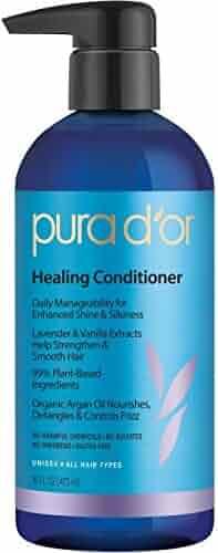 PURA D'OR Healing Conditioner Enhances Shine, Infused with Organic Argan Oil, Lavender & Vanilla, 16 Fl Oz