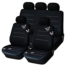 AUTOYOUTH Full Set Car Seat Covers Butterfly Embroidery, Split Rear Bench, Polyester Cloth Universal Fit Car Accessories - 9PCS, Black