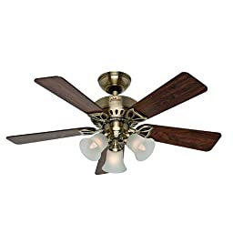 Hunter Fan Company 53078 The Beacon Hill 42-Inch Ceiling Fan with Five Rosewood/Medium Oak Blades and Light Kit, Antique Brass