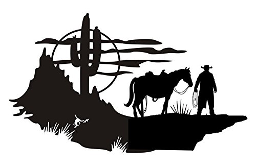 (Cowboy Western Scene v1 Decal Sticker - Peel and Stick Sticker Graphic - - Auto, Wall, Laptop, Cell, Truck Sticker for Windows, Cars, Trucks)
