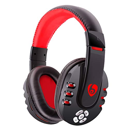 Thepass Bluetooth Headphones,V8 Bluetooth Gaming Headset Headphones with Microphone for PC/Phone/PUBG (Red)