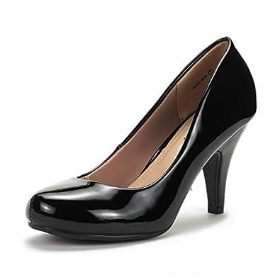 DREAM PAIRS ARPEL Women's Formal Evening Dance Classic Low Heel Pumps Shoes New, Arpel-Black Pat, 6.5 B (M) US