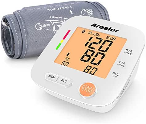 Blood Pressure Monitor Upper Arm, Arealer Automatic Blood Pressure Monitor Large Cuff, Digital Bp Cuff with Blood Pressure and Pulse Rate for Home Use, 2 * 90 Memory Mode, Batteries and Bag Included.
