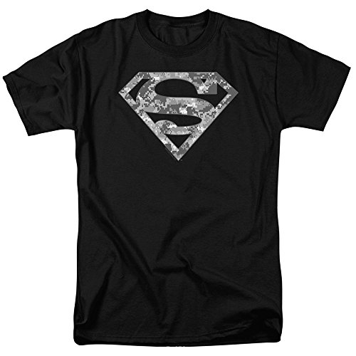 Superman Digital Camo Logo S Shield Black T Shirt & Exclusive Stickers (X-Large)