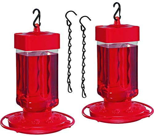 Hummingbird Feeder For Outdoors, First Nature 3055C 32 Ounce, Red Nectar Feeder With 10 Feeding Ports, Bundled with SEWENTA Bird Feeder Chain