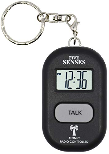 Atomic English Talking Clock with 5 Pill Reminder Alarm - Talking Pendant and Keychain Interchangeable by 5 Senses (1281B)
