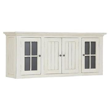 Hängeschrank mit 4 Türen aus Massivholz Weiß antik - Modell Ardoise ...