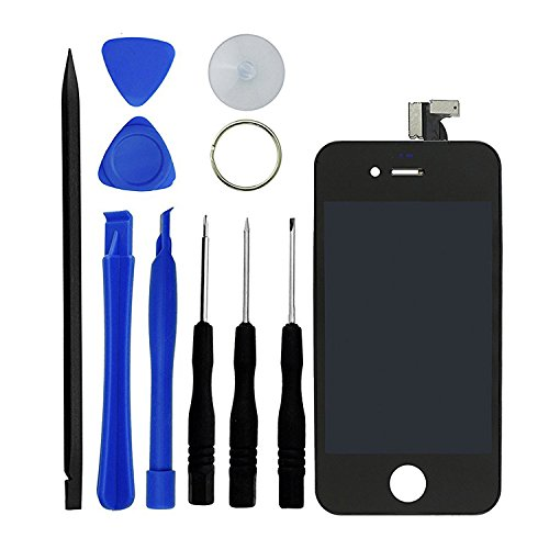 Eco-Fused Premium Replacement Digitizer and Touchscreen LCD for iPhone 4S – Replacement for AT&T and International Models - 10 Piece Kit for Replacement and Repair – Screen Protector Pre-Installed (black)