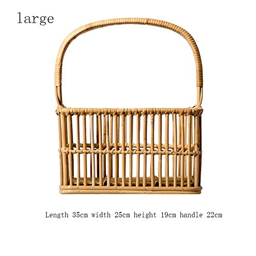 Storage organization Rattan storage basket - shopping basket picnic basket wicker storage basket flower basket dish basket Multipurpose decorative Storage Containers (Color : Natural, Size : Large) (Wicker Rattan Between Furniture And Difference)