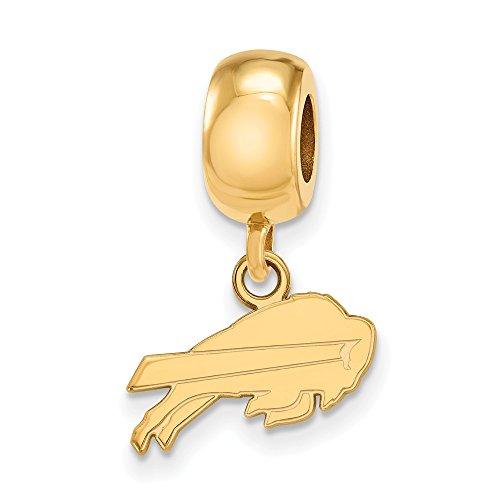 Mia Diamonds 925 Sterling Silver Gold-Plated LogoArt Buffalo Bills Bead Charm for Charm Bracelet XS Dangle