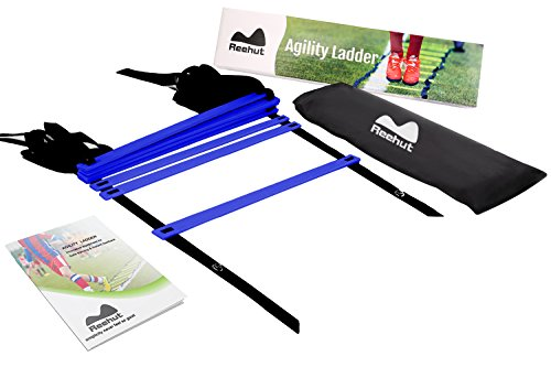 Reehut Agility Ladder w/ FREE USER E-BOOK + CARRY BAG - Speed Training Equipment (Blue, 8 Rungs)