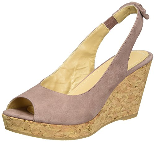 GARDENIA COPENHAGEN Sandal Wedge, Sandalias con Cuña para Mujer Rosa (suede Old Rose)