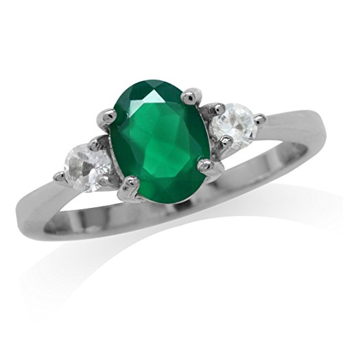 Agate Topaz Ring - 1.12ct. 8x6MM Oval Natural Emerald Green Agate & White Topaz 925 Sterling Silver Engagement Ring Size 10.5