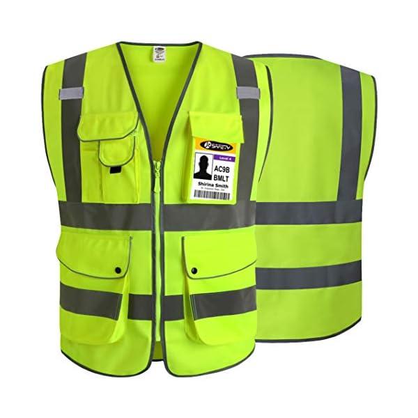 JKSafety Nueve bolsillos Nivel 2 Uniforme trabajo Chaleco con cremallera-Chaleco reflectante fluorescente-Chaleco de… 4