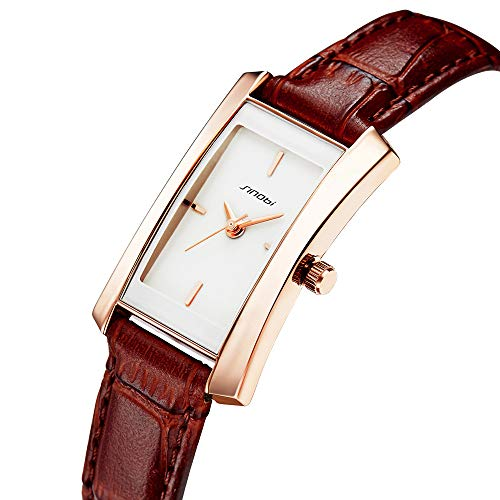 Square Casual Watch Face - SINOBI Women Brown Leather Wristwatch, Business Casual Lady Men Designer Simple Rectangular Watch Golden