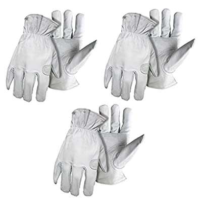 3 Pack Boss® 6061 Premium Grain Goatskin Leather Work/Drivers Glove with Keystone Thumb Sizes M-XL