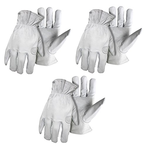 - 3 Pack Boss 6061 Premium Grain Goatskin Leather Work/Drivers Glove with Keystone Thumb Sizes M-XL (Large)