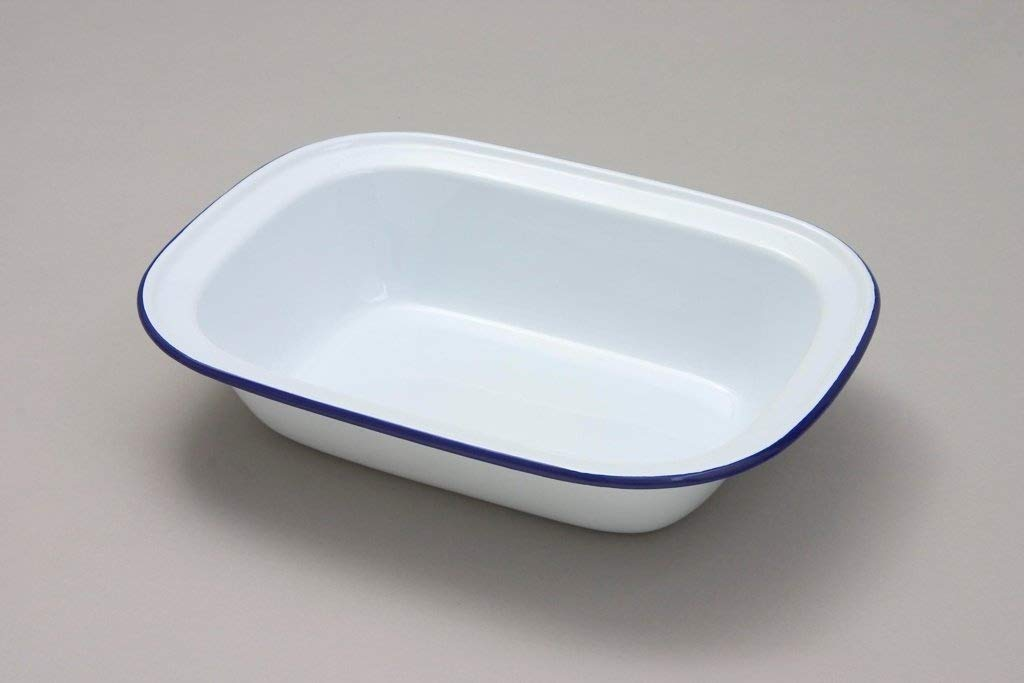 Falcon 16cm Oblong Pie Dish White Blue Rim