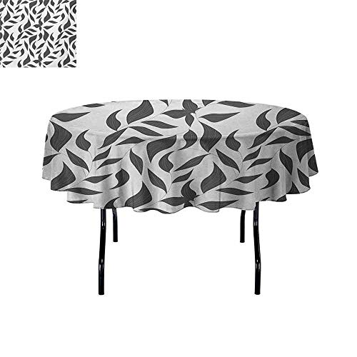 Grey Oil-Resistant and Durable Round Table Cover Abstract
