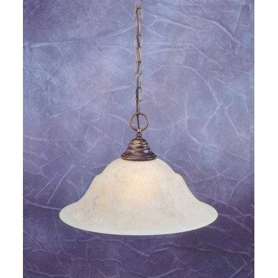 Downlight Pendant w 16 in. Italian Marble Glass Shade