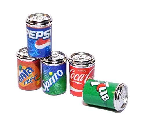 Melody Jane Dollhouse 5 Soda Pop Cans Tins Miniature 1:12 Metal Pub Drinks Shop Accessory