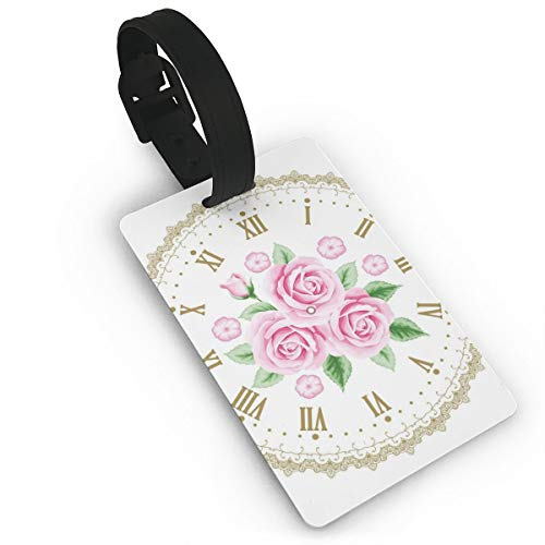Borzoi Clock - Luggage Tags Flexible Travel ID Identification Labels,Vintage Clock Face Roses Roman Numbers Antique Vintage Style,Travel Accessory With Wristband