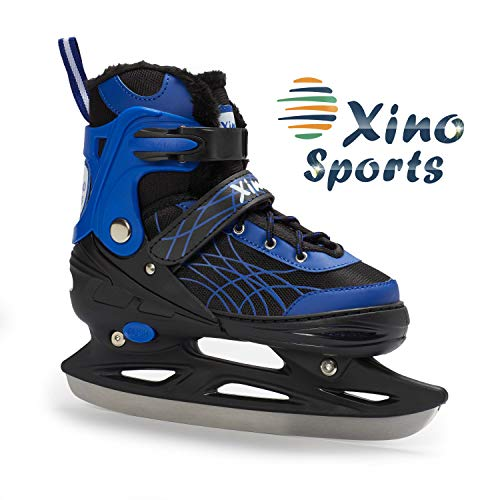 Deluxe Adjustable Ice Skates - for Boys and Girls, Two Awesome Colors - Blue and Pink, Faux Fur Padding and Reinforced Ankle Support, Fun to Skate! Blue Size Small