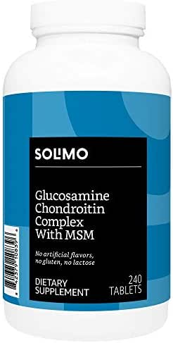 Amazon Brand - Solimo Glucosamine Chondroitin Complex with MSM, 240 Tablets, Glusosamine 1500mg, Chondroitin/MSM Complex 1103mg, Four Month Supply