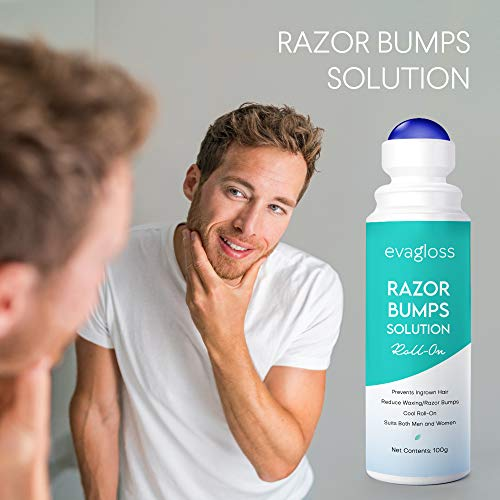 Evagloss Razor Bumps Solution After Shave Repair Serum for Ingrown Hairs and Razor Burns RollOn for