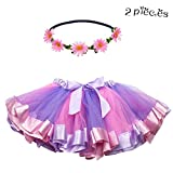 Rainbow Princess Tutu Dress with Daisy Flower Headband Layered Skirt-Girls Ballet Dance Costumes (Purple-Pink)