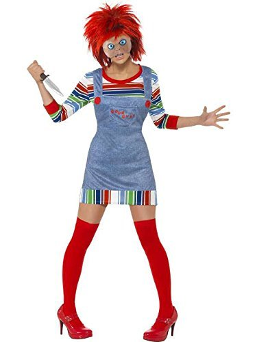 Smiffy's Women's Chucky Costume XS (UK 4-6) Blue -