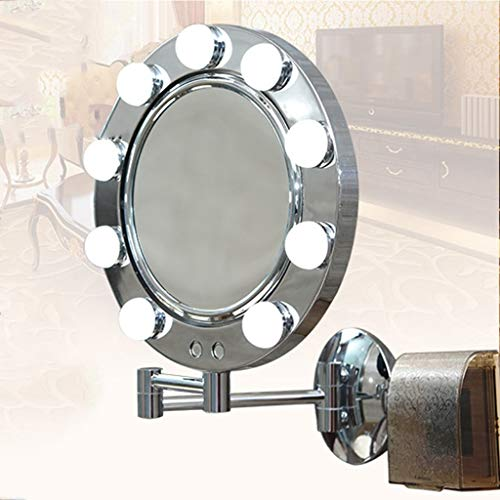 GWFVA Health UK Mirror- Makeup Mirror LED Folding Double Mirror with Bulb Telescopic Bathroom Mental Silver Mirror Two-Color Dimming Touch Switch Wall Lamp Mirror Welcome