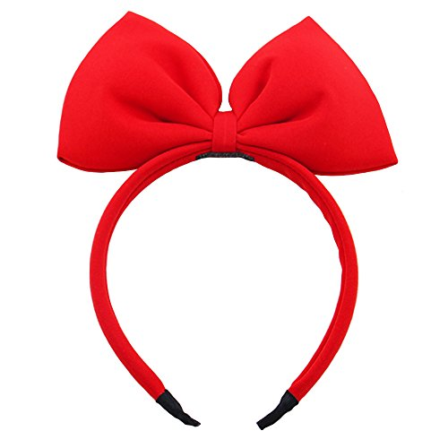 Bow Headband Red Bowknot Headband Big Bow Hair Hoop Cute Girls Kids Party Decoration Headdress Cosplay Costume Headwear Halloween Makeup Handmade Headpiece Hair Band Elastic Hair Accessories 1 Pack